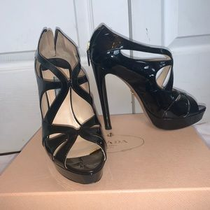 PRADA Strappy Patent Leather Platform Heels